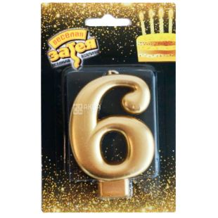 Весела затія, Свічка для торта, Золотиста, Цифра 6, 8 см