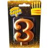 Веселая затея Розовое золото, Свеча для торта, Цифра 3, 8 см