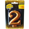 Веселая затея Розовое золото, Свеча для торта, Цифра 2, 8 см, Блок