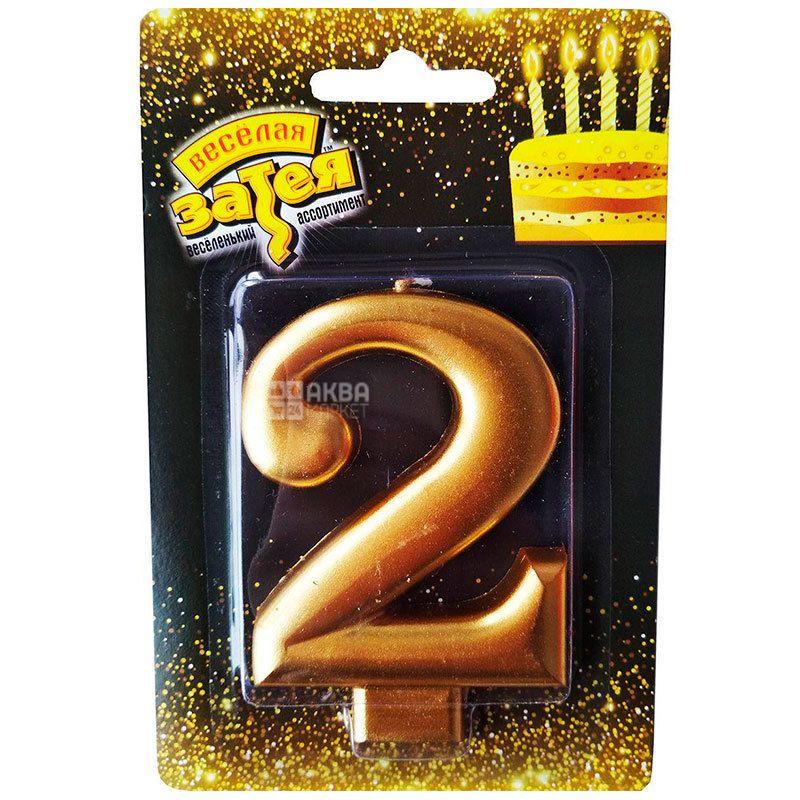 Весела затія Рожеве золото, Свічка для торта, Цифра 2, 8 см, Блок