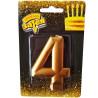 Весела затія, Свічка для торта, Золотиста, Цифра 4, 8 см