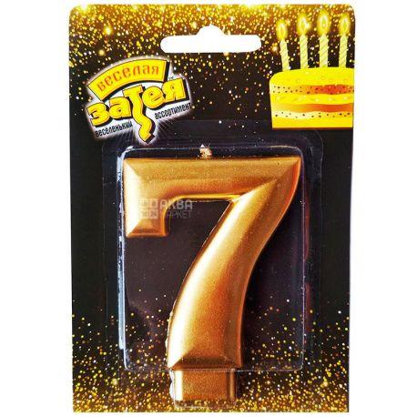 Весела затія, Свічка для торта, Золотиста, Цифра 7, 8 см