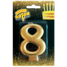 Funny idea Figure 8, a candle for a cake, rose gold, stearin, 8 cm, plastic