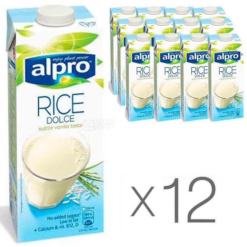 Alpro, Rice Dolce, Упаковка 12 шт. по 1 л, Алпро, Рисовое молоко, без сахара и лактозы, витаминизированное