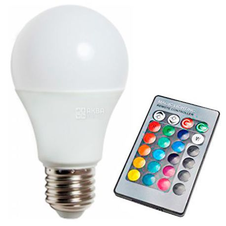 Lemanso, LM736, Лампа с пультом, E27, RGB, 3W