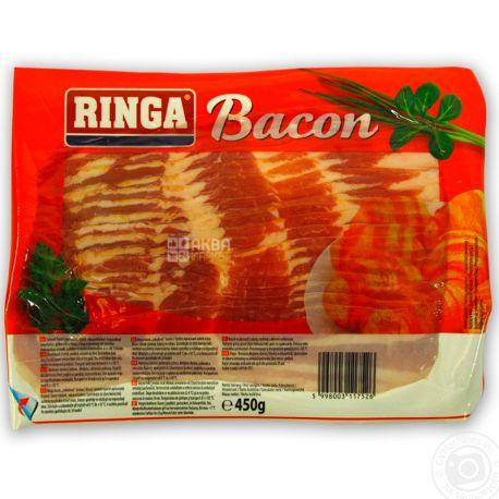 Ringa, Бекон сирокопчений, нарізка, в/с, 450 г