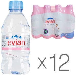 Evian, 0,33 л, Упаковка 12 шт., Эвиан, Вода негазированная, ПЭТ