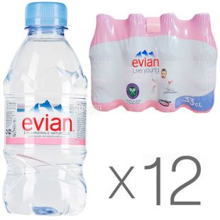 Evian, 0,33 л, Упаковка 12 шт., Евіан, Вода негазована, ПЕТ