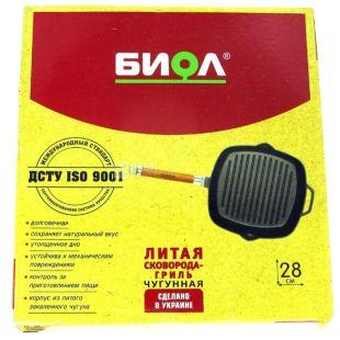 Биол, Сковорода-гриль, Чугунная литая, Съемная ручка, Квадратная, 28х28 см