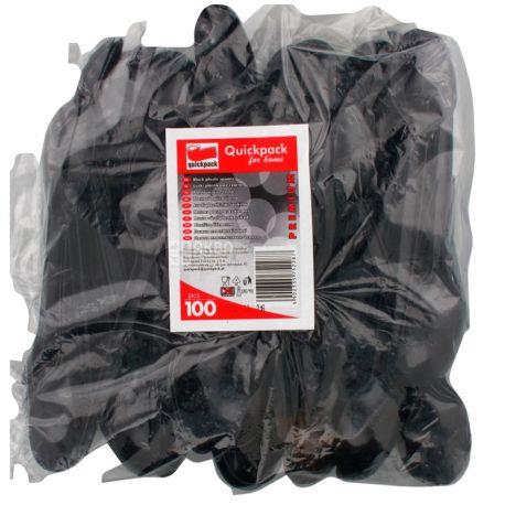 Quickpack, Ложка одноразова міцна, чорна, 100 шт.