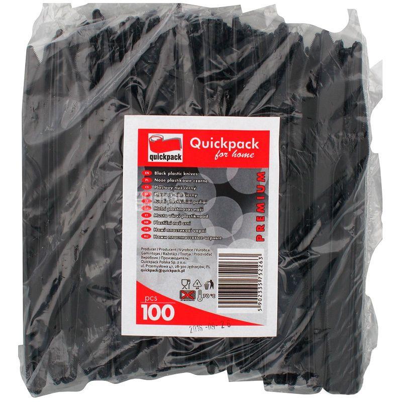 Quickpack, Ніж одноразовий міцний, чорний, 100 шт.