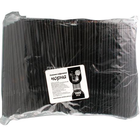 Помічниця, Соломка гофрований, 21 см, чорні, 1000 шт.