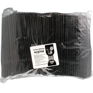 Helper, Corrugated straw, black, 21x0.5 cm, 1000 pcs.