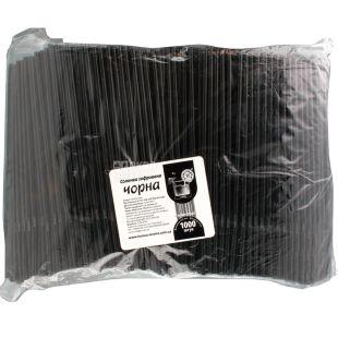 Помощница, Соломка гофрированная, черная, 21Х0,5 см, 1000 шт.