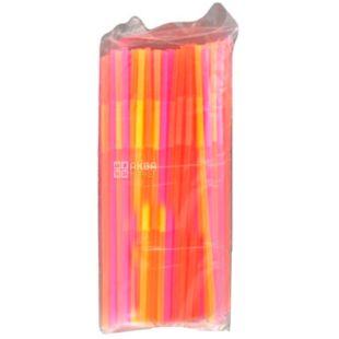 Помощница, Соломка с длинной гофрой, люминесцентная, 21 см, цветные,100 шт.