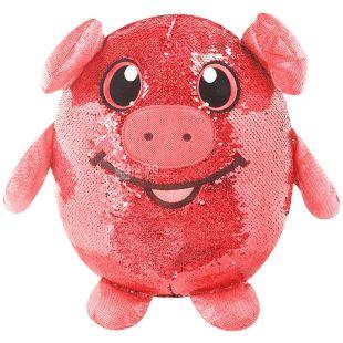 Shimmeez, Мягкая игрушка с пайетками Веселая свинка, 20 см