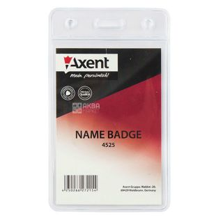 Axent, badge vertical, transparent, 125 x 80 mm