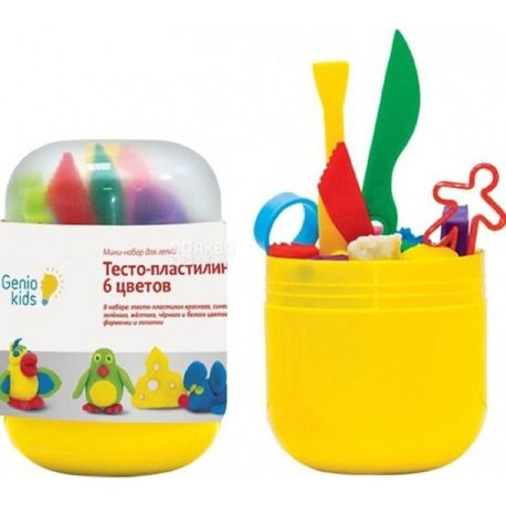 Genio Kids, Міні-набір тісто-пластилін, 6 кольорів