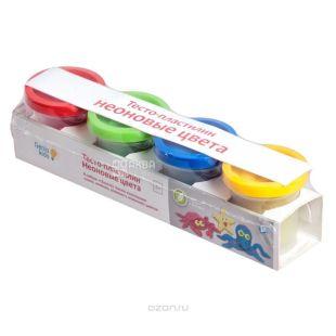 Genio Kids, Тесто-пластилин для лепки, неоновые, 4 цвета по 50 г