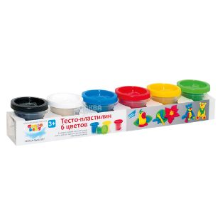 Genio Kids, Тесто-пластилин для лепки, 6 цветов по 50 г