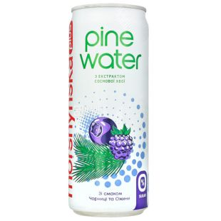 Моршинська Pine Water Чорниця-Ожина, 0,33 л, Вода слабогазована з екстрактом соснової хвої, без цукру, ж/б