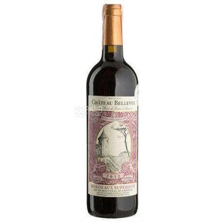 Chateau Bellevue Rouge, Вино червоне сухе, 0,75 л