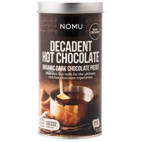 Nomu, Decadent hot chocolate, 250 г, Ному, Гарячий шоколад, шматочками, органічний, тубус