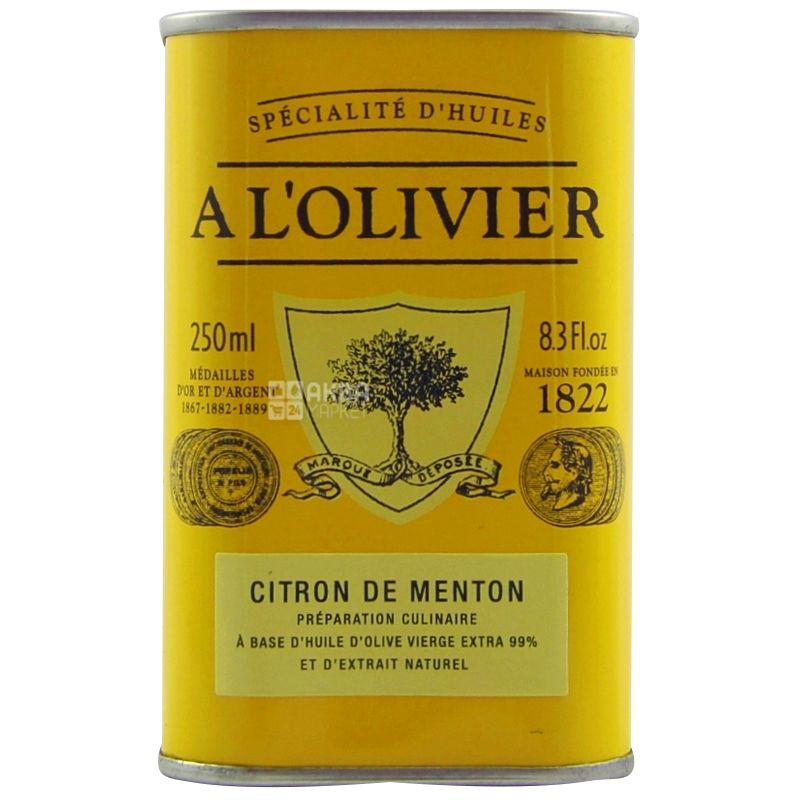 A L'Olivier, Олія оливкова екстра-вірджин з лимоном із Ментона, 250 мл