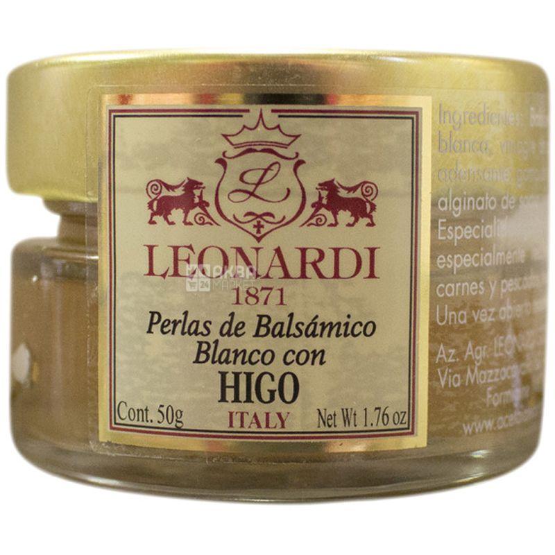 Leonardi, Жемчужины из белого бальзамического уксуса со вкусом инжира, добавка к блюдам, 0,05 л