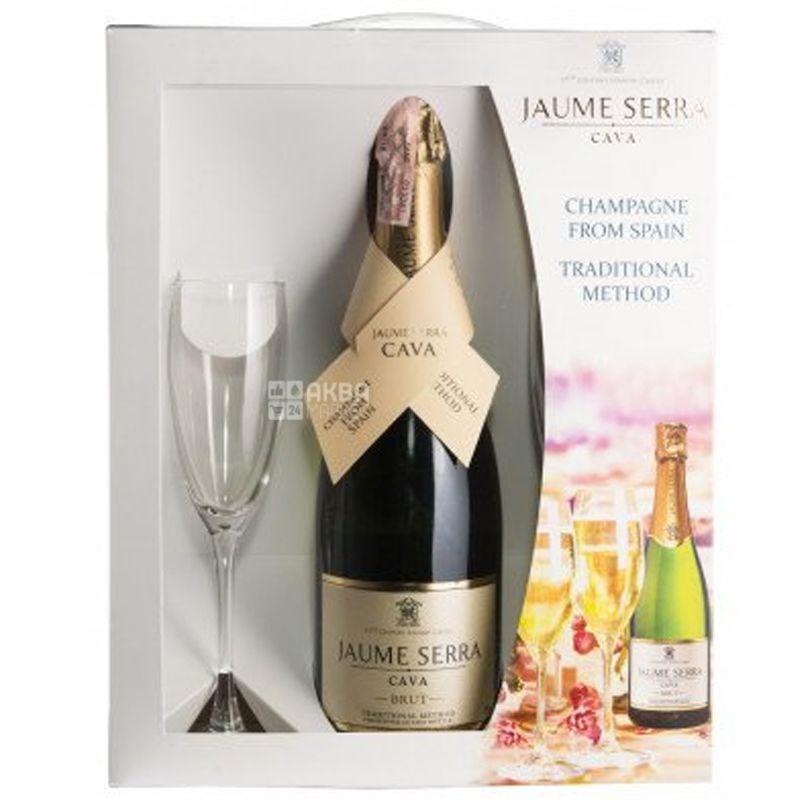 Cava Jaume Serra Brut, J.Garcia Carrion 0,750 GB + 2 glasses, Игристое белое вино, 0,75 л