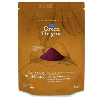 Green Origins, Органический лиофилизированный черничный порошок, 75 г