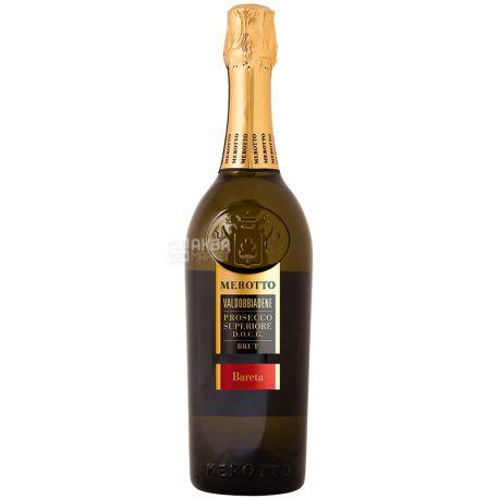 Merotto, Вино игристое белое брют, Bareta Prosecco Superiore Brut, 0,75 л