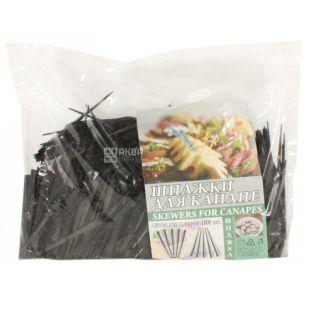 Ваиэр Призма, Шпажки для бутерброда, 9 см, черные, 1000 шт.