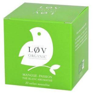 LoV Organic, Mango - Passion Fruit, 20 пак., Чай Лов Органик, Манго-Маракуйя, Белый органический