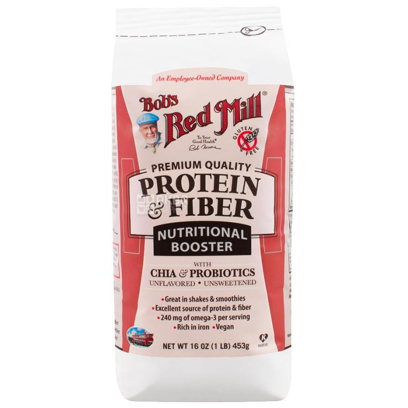 Protein and Cellulose, Nutritional Formula with Chia and Probiotics, Flavoring Free, 453 g, TM Bob's Red Mill
