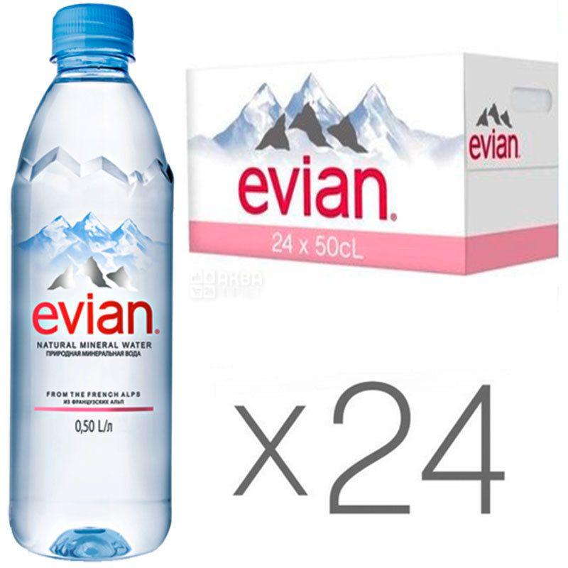 Evian, 0,5 л, Евіан, Вода негазована, ПЕТ