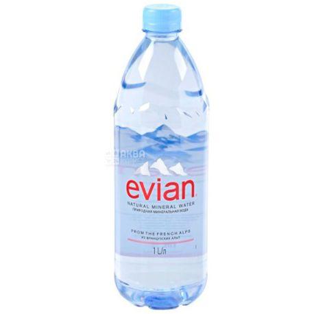 Evian, 1 л, Упаковка 6 шт., Евіан, Вода негазована, ПЕТ