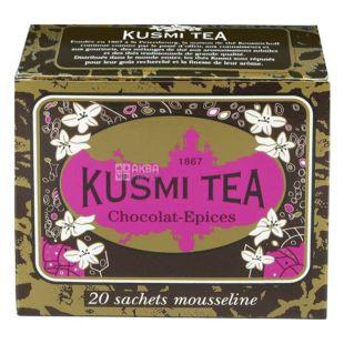 Kusmi Tea, Spicy Chocolate, 20 пак. х 2,2 г,  Чай Кусми Ти, Пряный Шоколад, черный, с ароматом шоколада и специй