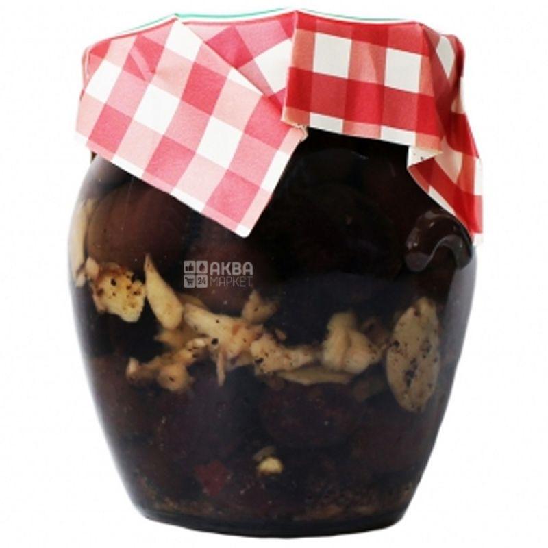 Castellino, Оливки черные Леккино, без косточек, с чесноком, в масле, 180 г