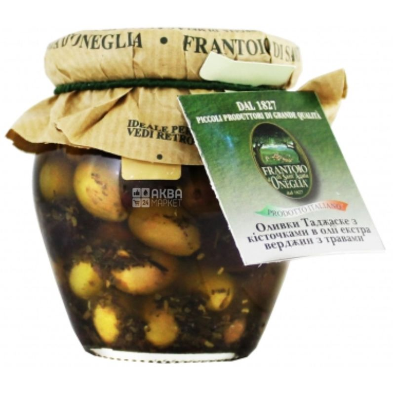 Frantoio di Sant`agata, Olives Tagzaske with pits, with herbs, 210 g