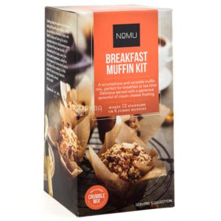 Nomu, Breakfast Muffin Kit, 540 г, Суміш Ному, для приготування мафінів