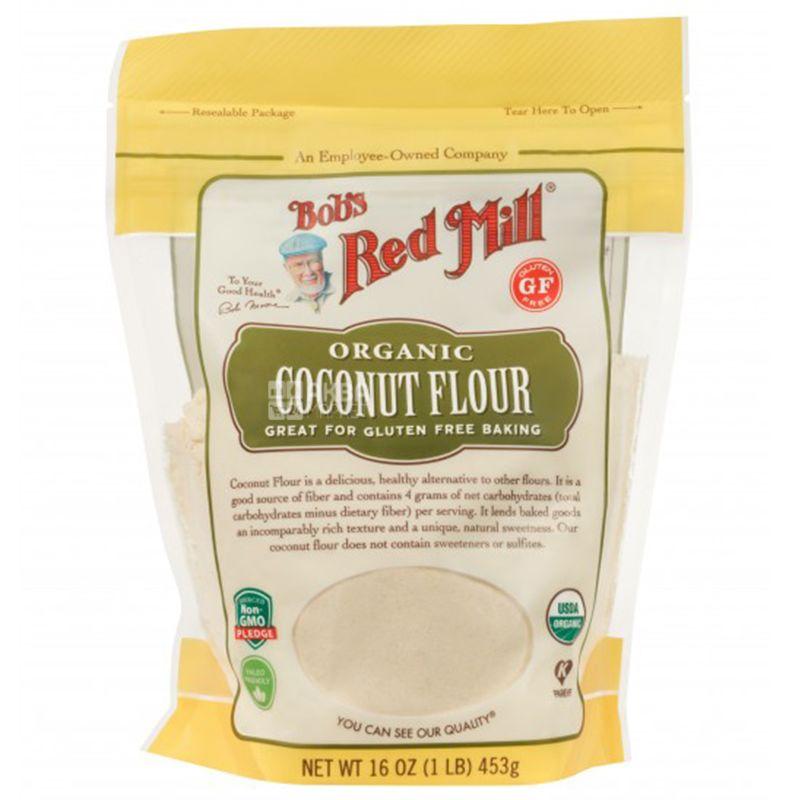 Bob's Red Mill, Coconut Flour, 0,453 кг, Борошно Бобс Ред Мілл, кокосове, без глютену, органічне