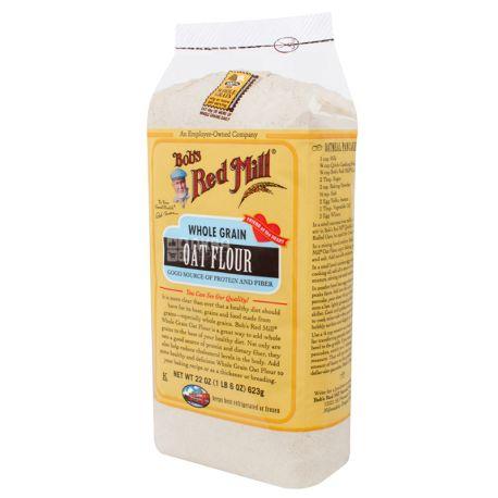 Bob's Red Mill, Oat Flour, 0,623 кг, Борошно Бобс Ред Мілл, вівсяне, цільнозернове