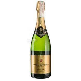 Baron d'Arignac, Demi-Sec sparkling, Вино игристое белое полусухое, 0,75 л