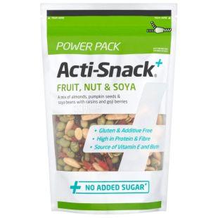 Acti-Snack, Смесь фруктов, орехов и сои, сушеная, 250 г