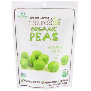 Nature's All, Organic peas, 62 г, Горох сублимированный