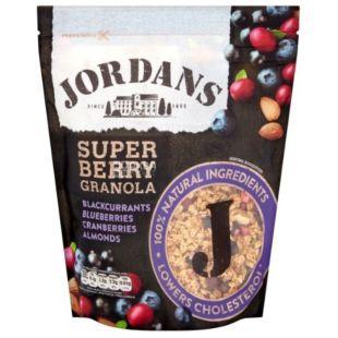 Jordans, Super Berry, 550 г, Гранола Джорданс, Супер Беррі, вівсяні пластівці, мед, мигдаль, ягоди