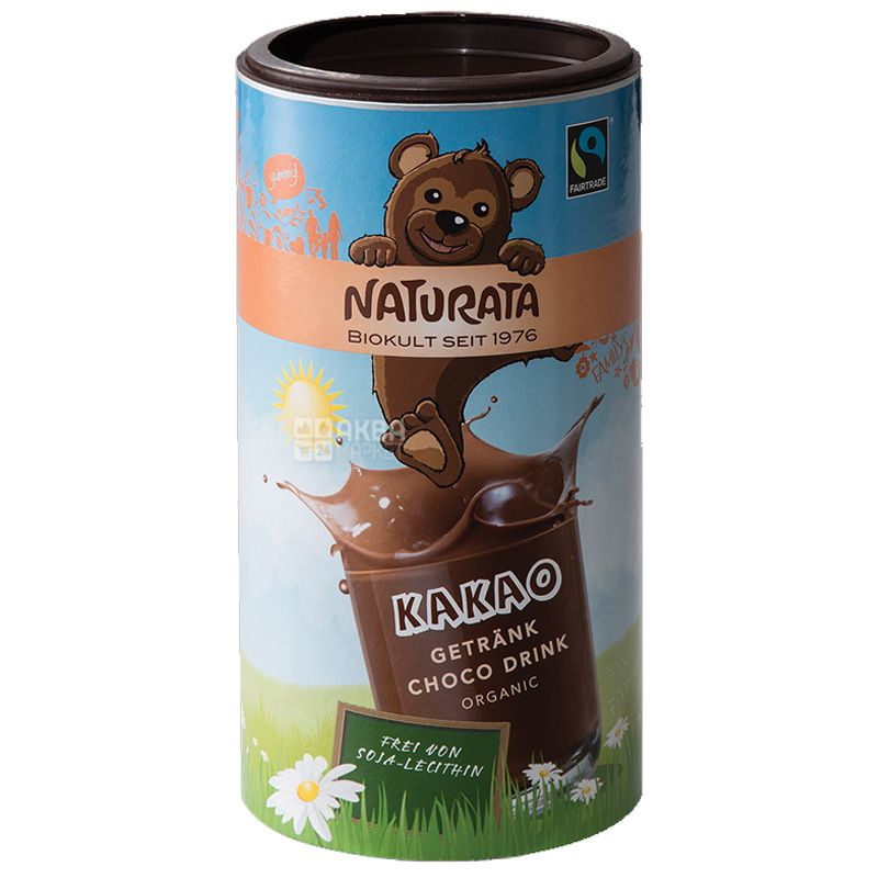 Naturata, Kakao Getrank Choco Drink, 350 г, Натурата, Какао-напиток для детей, органический, тубус