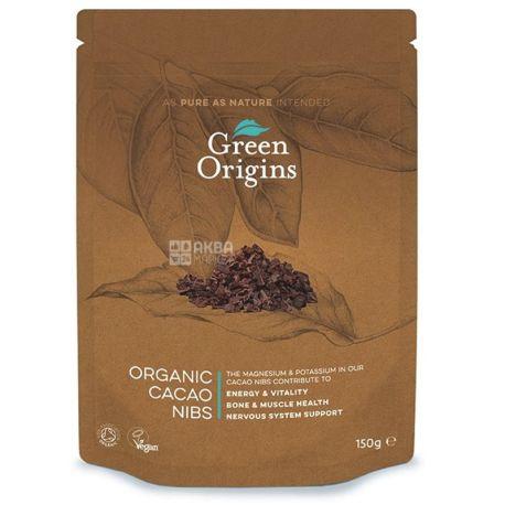Green Origins, Какао-бобы измельченные органические, 150 г