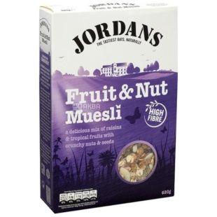 Jordans, 620 г, Мюсли Джорданс, смесь злаков, с сухофруктами и орехами, сухой завтрак, быстрого приготовления